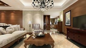 101平方三居客厅美式效果图