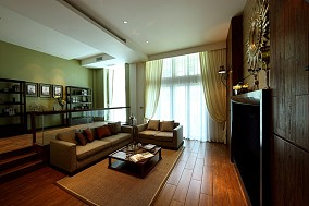 简中式一居客厅窗帘装修效果图