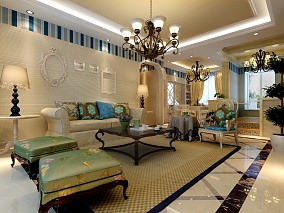 精选地中海一居客厅实景图