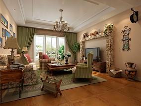精选大小91平美式三居客厅装修欣赏图片大全
