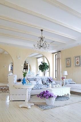 热门面积86平地中海二居客厅欣赏图片大全