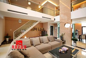 111平米简约别墅客厅装修实景图片欣赏
