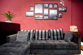 现代小户型客厅沙发背景墙相框墙效果图