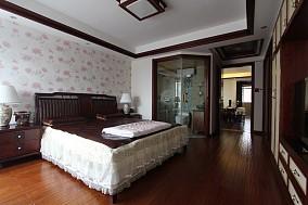 中式风格一室一厅卧室装修效果图