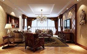 精美面积80平欧式二居客厅实景图片