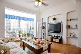 田园地中海混搭小户型客厅电视墙效果图