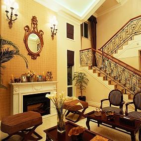 美式别墅铁艺楼梯扶手效果图
