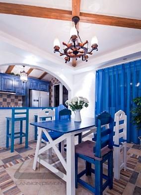71平米地中海小户型餐厅装修设计效果图片