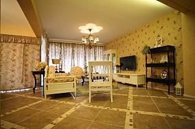 精美93平米三居客厅田园装修效果图片欣赏
