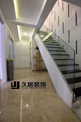 复式楼玻璃楼梯扶手装修效果图