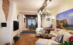 热门面积70平小户型客厅地中海实景图片欣赏