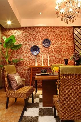 东南亚风格餐厅壁纸装修效果图
