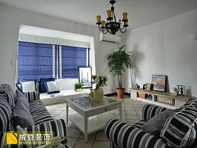 2018面积78平小户型客厅地中海装修设计效果图片欣赏