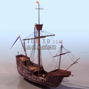 船舶,木制古帆船3D模型4 2套3D模型下载 土巴兔3D模型库图片