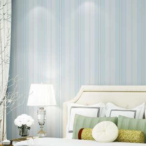 【B】欣旺壁纸 现代简约地中海条纹设计 环保无纺布壁纸