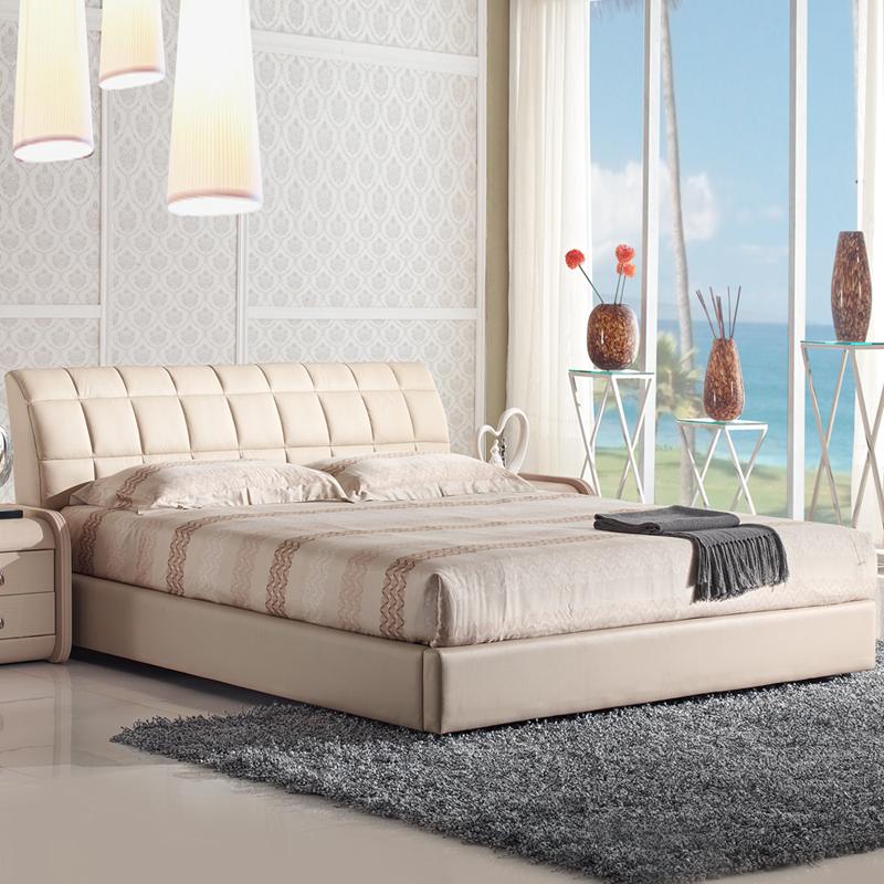 珊瑚岛 简约现代皮床真皮床软床软体床皮艺床婚床软包床YP1308 1.5  1.8米双人床