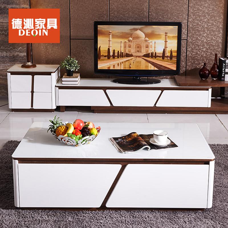 德沁 家具 茶几电视柜组合现代简约风烤漆可伸缩电视柜茶几斗柜组合