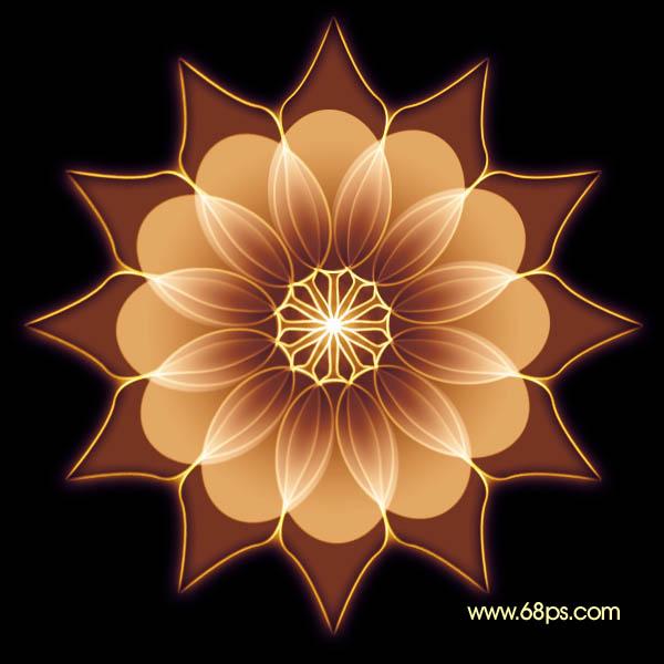 Photoshop教程 运用重复变形工具制作漂亮的光影花朵