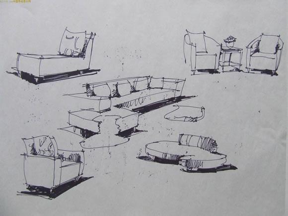 那种吸水较快的速写纸去画一些单体或是组合家具,由于这种纸吸图片