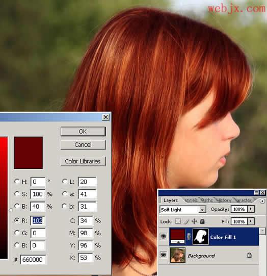 photoshop快速为美女照片换头发颜色 photos