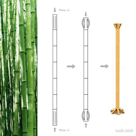 竹子衣架,用一根竹子经过简单的挤压处理而成,设计jinhong lin图片